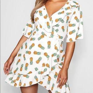 Boohoo plus flo pineapple ruffle wrap dress